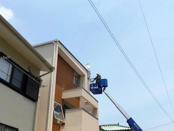 新築のアンテナ工事 壁面取付