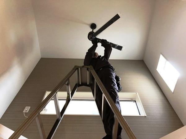 シーリングファン取付工事 2階リビングからの吹き抜け!