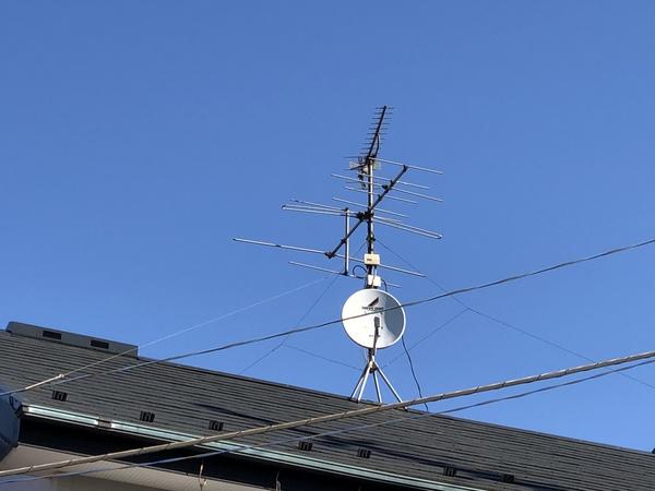 アナログアンテナ取外し、地上デジタルアンテナ交換 柏市